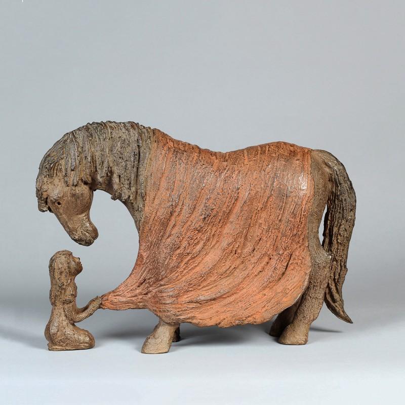 Sculpture Bien au chaud. Bronze Cheval. Profil gauche