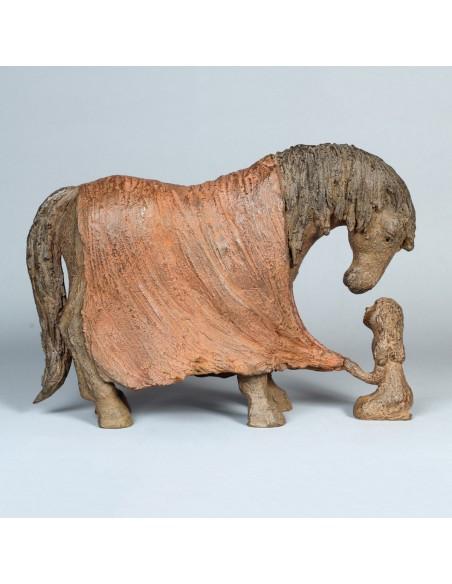 Sculpture Bien au chaud. Bronze Cheval. Profil droit