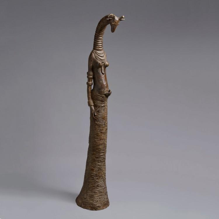 Sculpture bronze Girafe enceinte - Bronze girafe