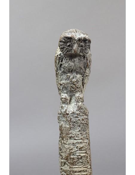 Sculpture bronze Jeune Philosophe détail chouette
