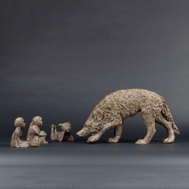 Sculpture La problématique du loup - Bronze animalier Loup