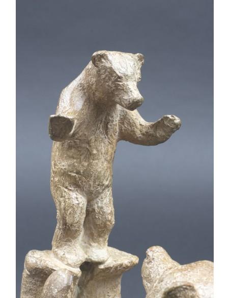Sculpture animalière bronze Acrobatie. Bronze ours détail 1
