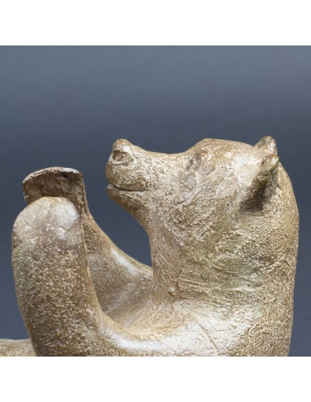 Sculpture animalière bronze Acrobatie. Bronze ours détail tête