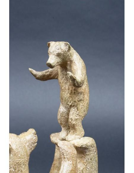 Sculpture animalière bronze Acrobatie. Bronze ours détail 2