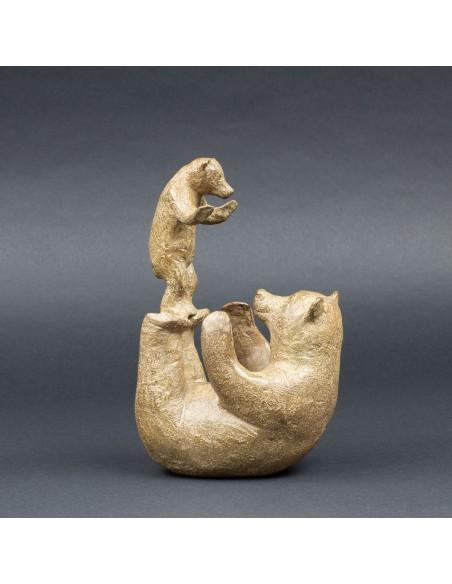 Sculpture animalière bronze Acrobatie. Bronze ours
