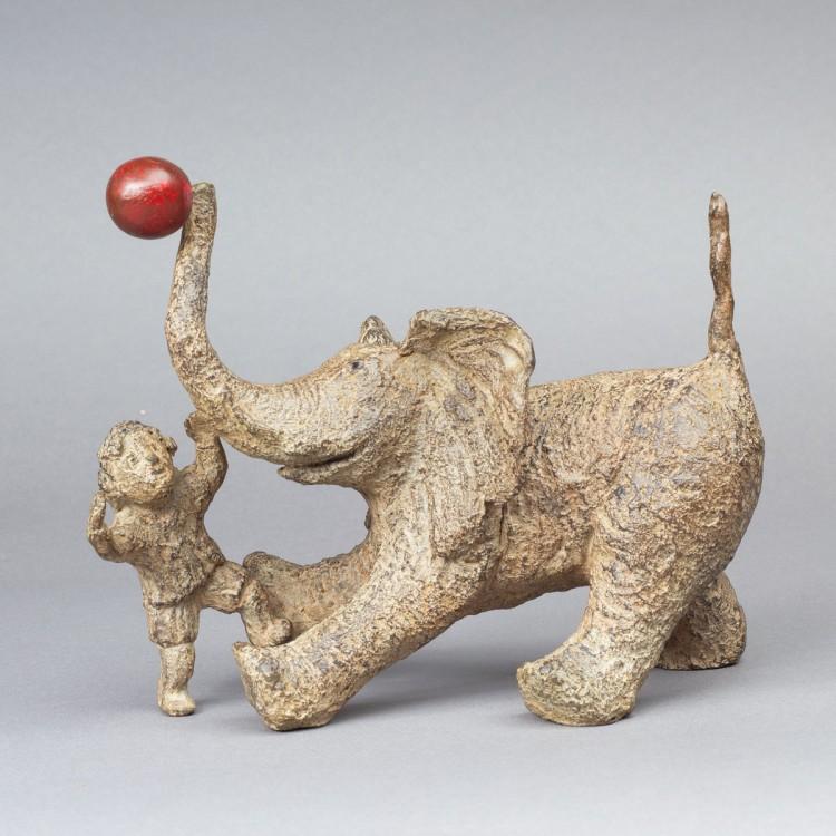 Axel et son éléphant, sculpture bronze thème enfant et éléphant