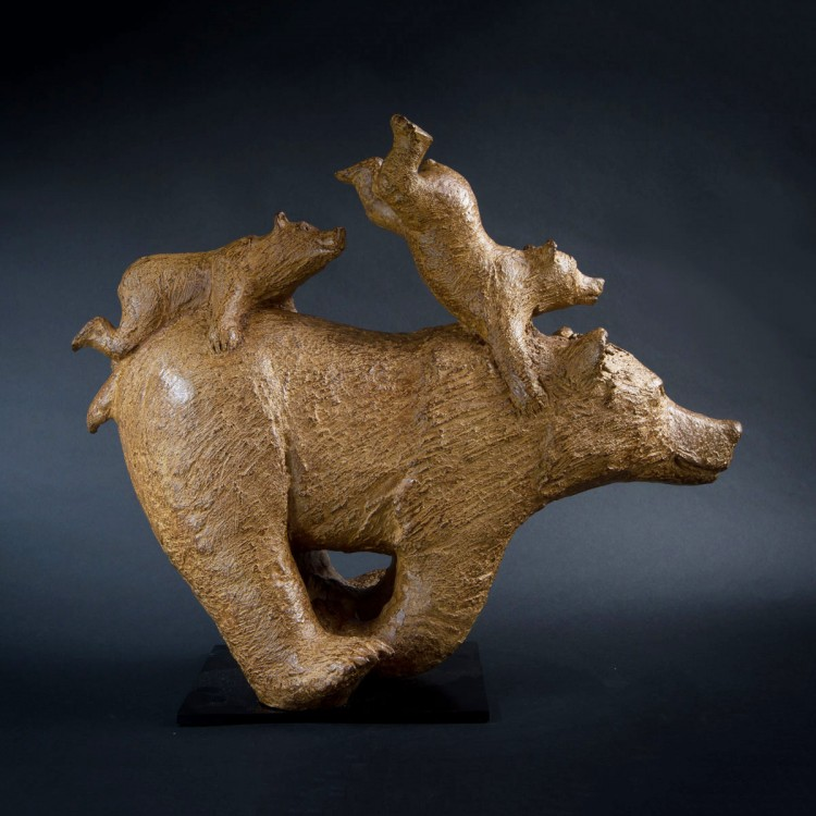 Sculpture bronze Grand Quickly. Bronze animalier ours