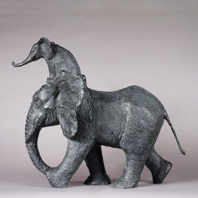 Sculpture Grand Mahout, sculpture animalière bronze éléphant de sophie verger