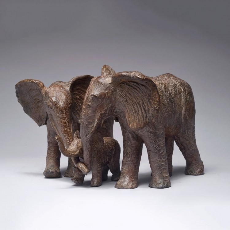 Sculpture Entre père et mère, Bronze sous le thème de l'éléphant